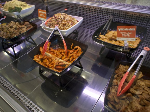 "Prepared foods including ""South Asian Buttah Chick*n"" and ""No Pork Pulled Pork"""