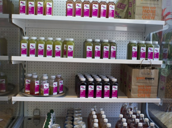 "Cold-pressed ""Au Jus"" juices, including ""Divine Blush"" and ""Pineapple Express"""