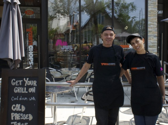 Co-owners Michael and Jess Abramson in front of YamChops