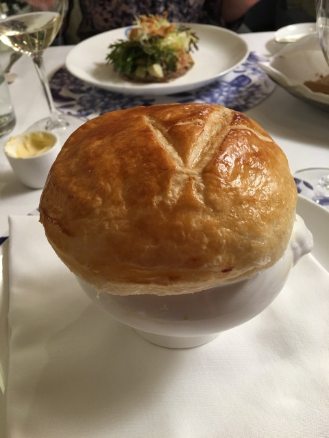 duck consommé with puff pastry