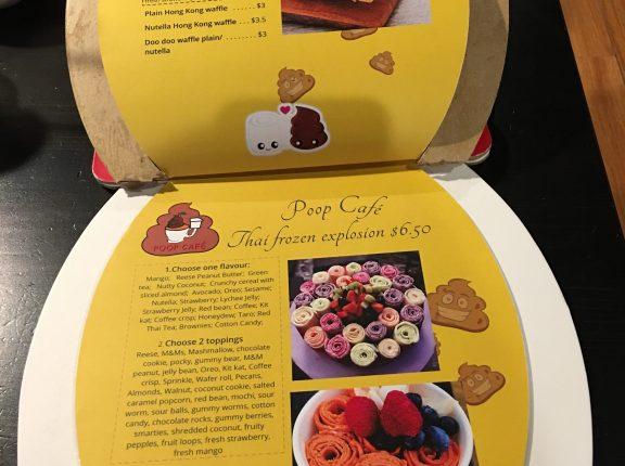 poop cafe dessert menu toronto thai frozen explosion dessert