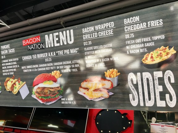 CNE Bacon Nation menu