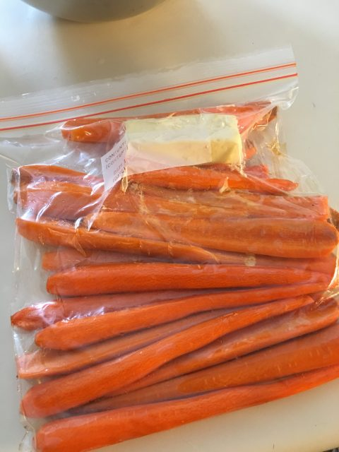 carrots butter honey vacuum sealed ziploc freezer bag