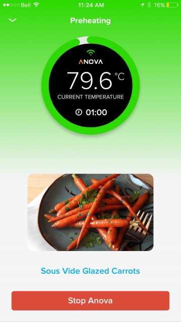 anova app sous vide glazed carrots 79.6 temperature
