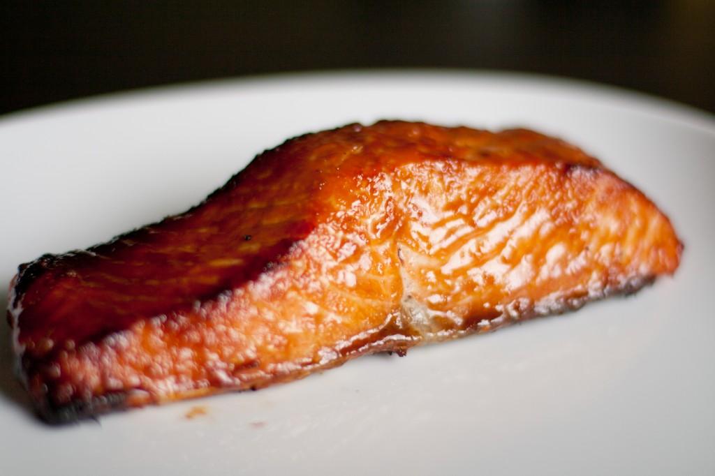 Miso Glazed Salmon With Brown Rice Pasta Lettuce
