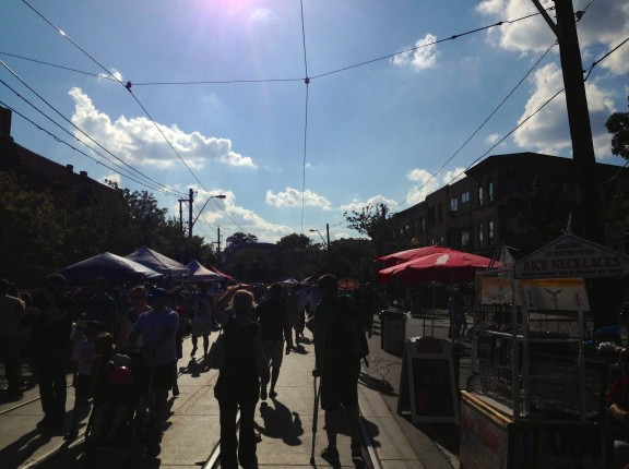 people sun sky clouds umbrellas festival downtown outdoor people little italy college toronto