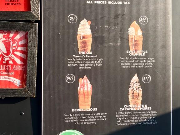 eva's chimneys menu toronto cne food truck dessert
